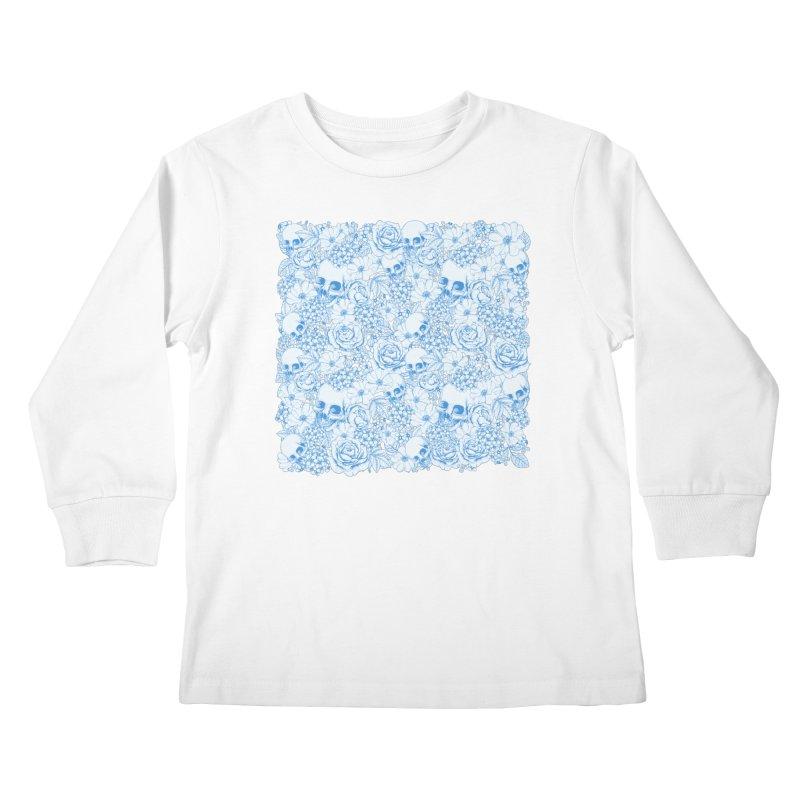 Skulls Blue Kids Longsleeve T-Shirt by xristastavrou