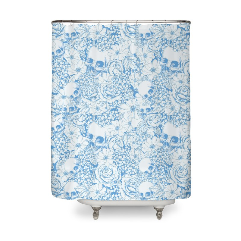 Skulls Blue Home Shower Curtain by xristastavrou