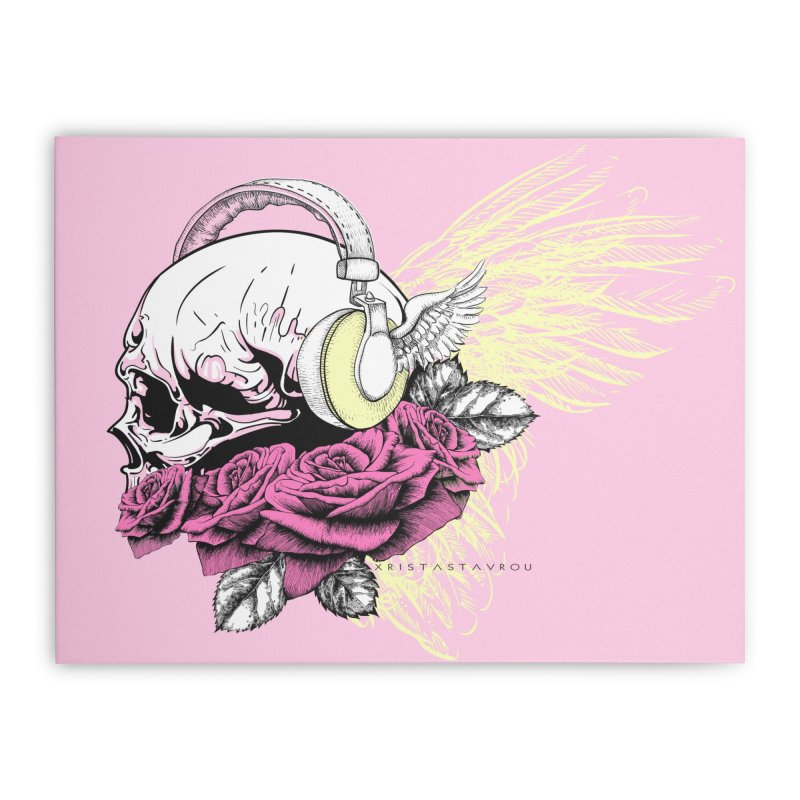 Skull Music Home Stretched Canvas by xristastavrou