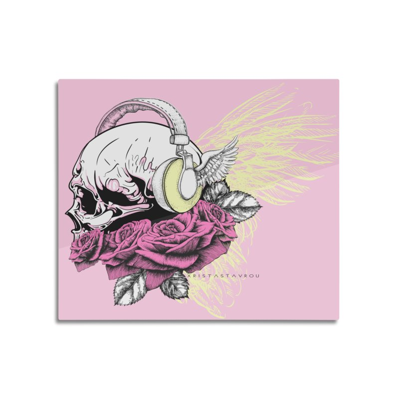 Skull Music Home Mounted Aluminum Print by xristastavrou