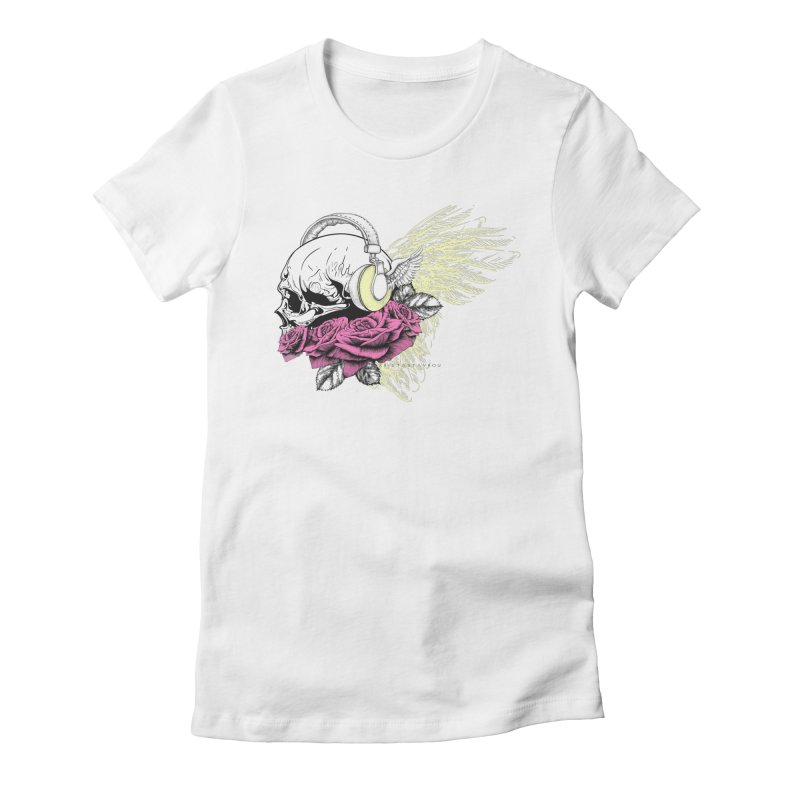 Skull Music Women's Fitted T-Shirt by xristastavrou