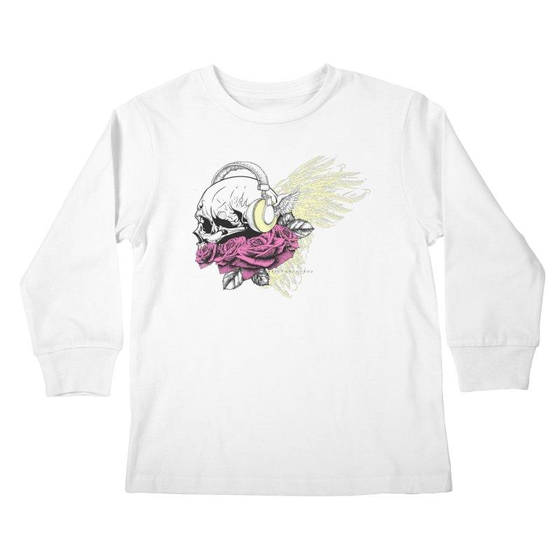 Skull Music Kids Longsleeve T-Shirt by xristastavrou