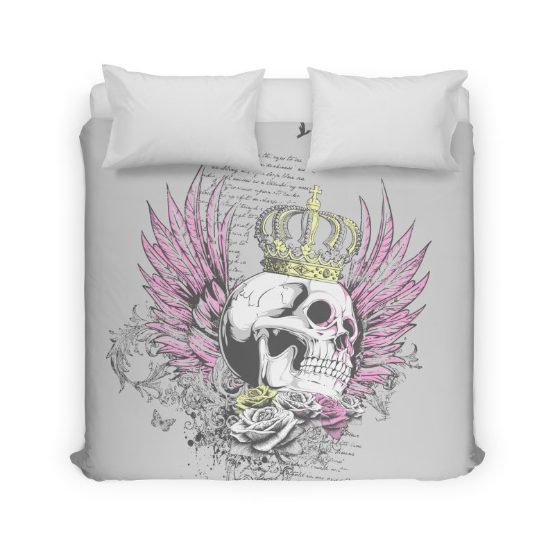 Skull Queen with pink wings Home Duvet by xristastavrou