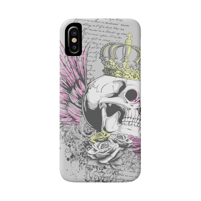 Skull Queen with pink wings Accessories Phone Case by xristastavrou