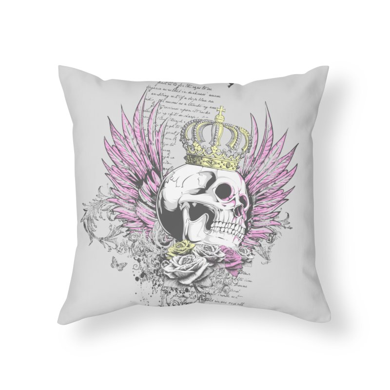 Skull Queen with pink wings Home Throw Pillow by xristastavrou