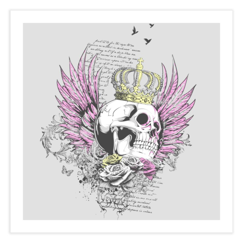 Skull Queen with pink wings Home Fine Art Print by xristastavrou