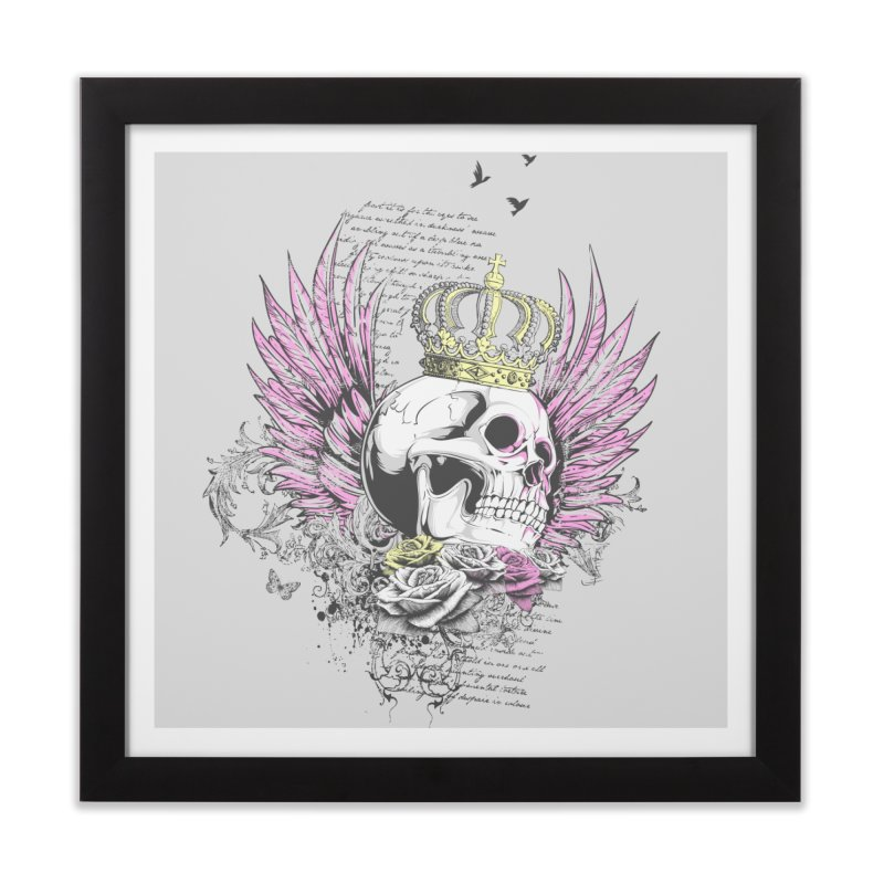 Skull Queen with pink wings Home Framed Fine Art Print by xristastavrou