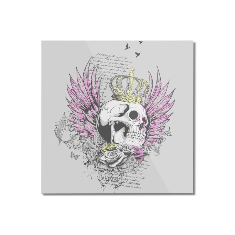 Skull Queen with pink wings Home Mounted Acrylic Print by xristastavrou