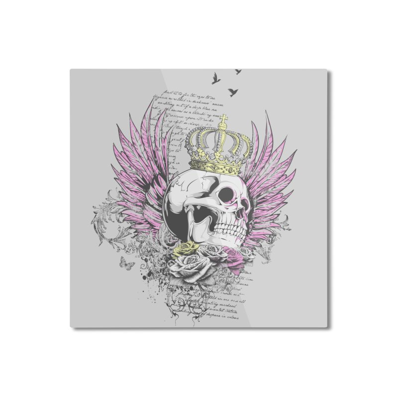 Skull Queen with pink wings Home Mounted Aluminum Print by xristastavrou