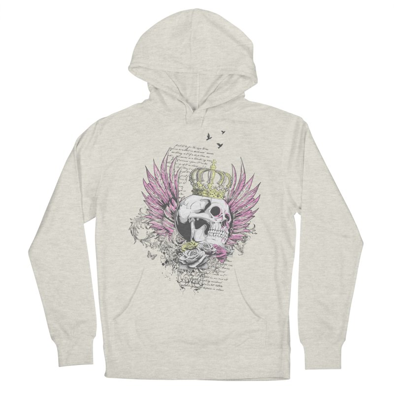 Skull Queen with pink wings Men's French Terry Pullover Hoody by xristastavrou