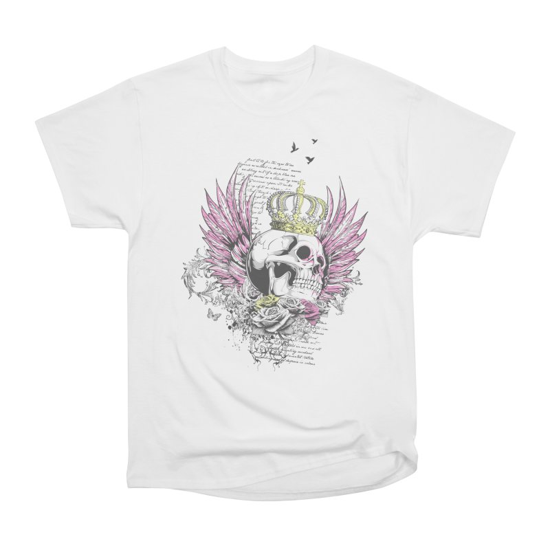 Skull Queen with pink wings Men's Heavyweight T-Shirt by xristastavrou