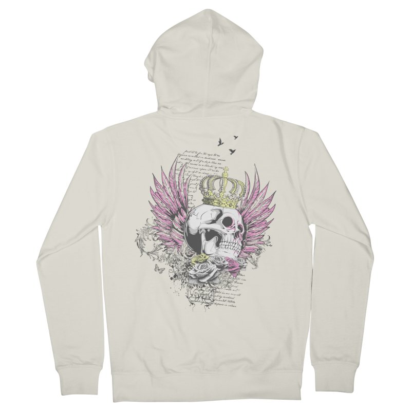 Skull Queen with pink wings Women's French Terry Zip-Up Hoody by xristastavrou