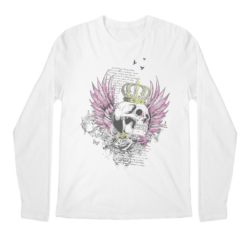 Skull Queen with pink wings Men's Regular Longsleeve T-Shirt by xristastavrou