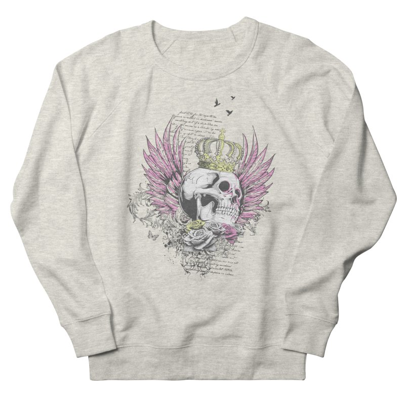 Skull Queen with pink wings Women's French Terry Sweatshirt by xristastavrou
