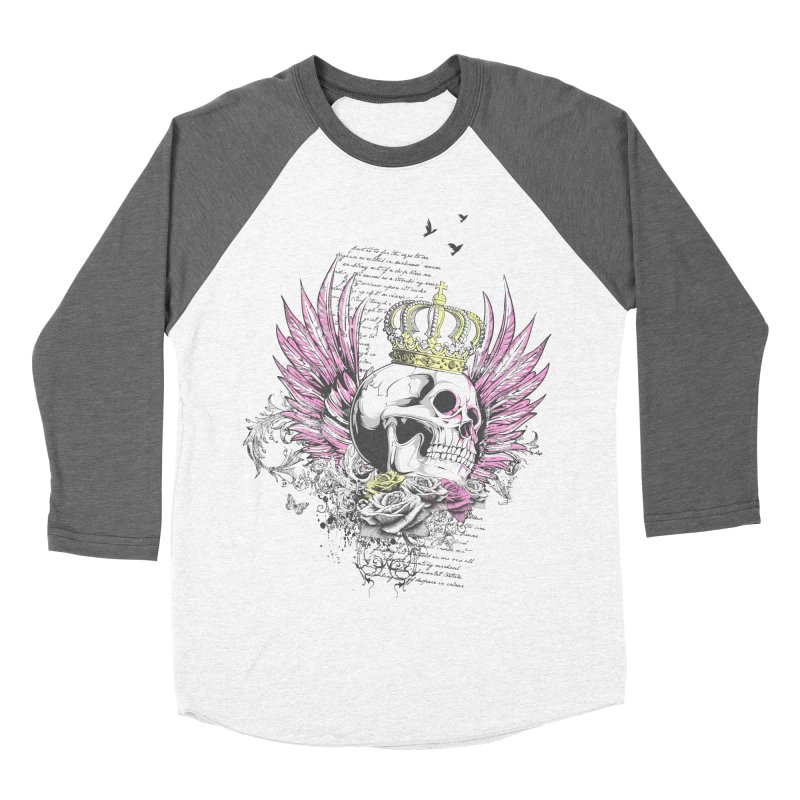 Skull Queen with pink wings Men's Baseball Triblend Longsleeve T-Shirt by xristastavrou