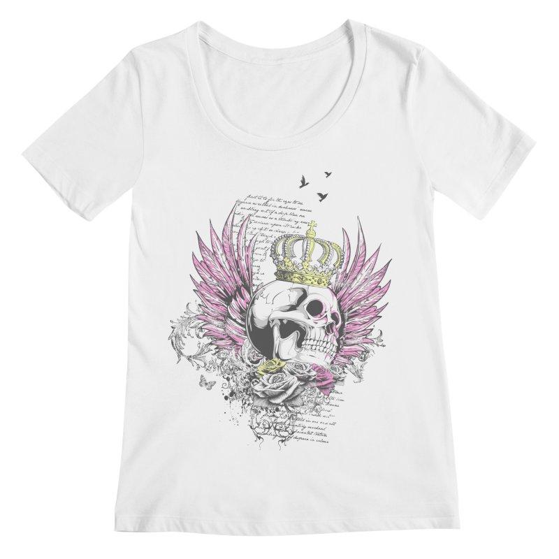 Skull Queen with pink wings Women's Regular Scoop Neck by xristastavrou