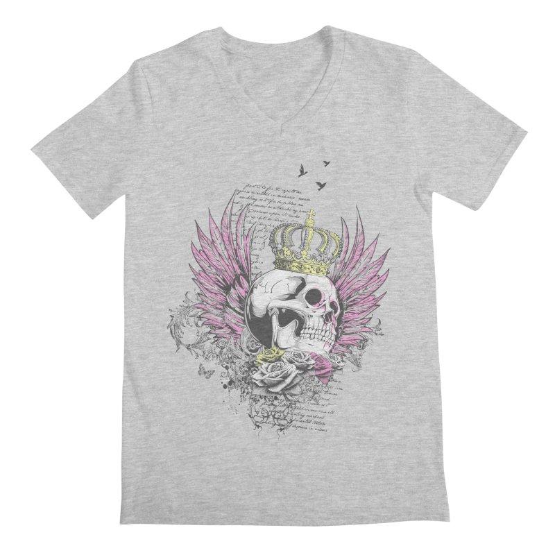 Skull Queen with pink wings Men's Regular V-Neck by xristastavrou