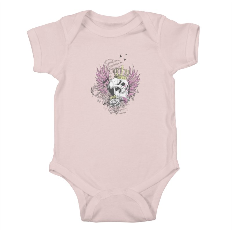 Skull Queen with pink wings Kids Baby Bodysuit by xristastavrou