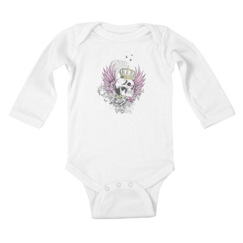 Skull Queen with pink wings Kids Baby Longsleeve Bodysuit by xristastavrou