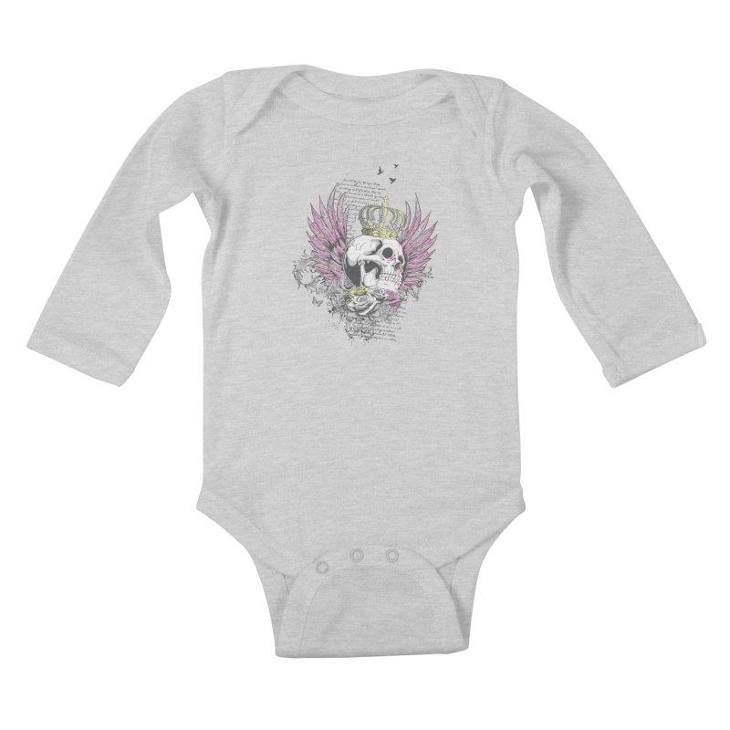 Skull Queen with pink wings Kids Baby Longsleeve Bodysuit by xristastavrou