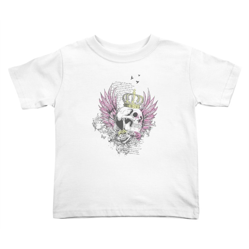 Skull Queen with pink wings Kids Toddler T-Shirt by xristastavrou