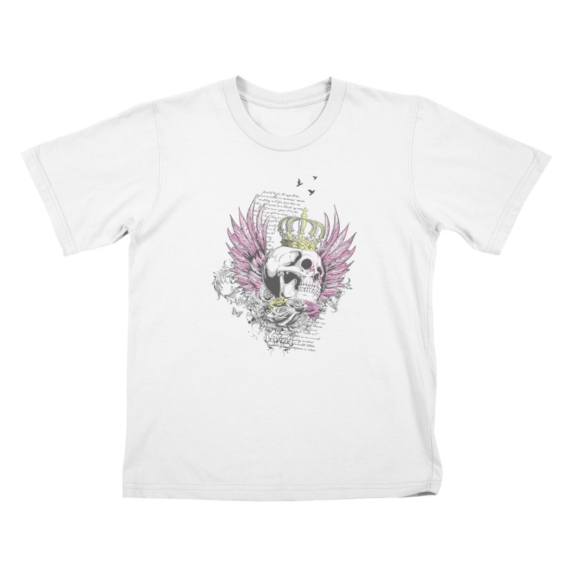 Skull Queen with pink wings Kids T-Shirt by xristastavrou