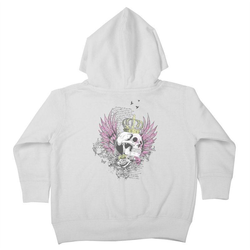 Skull Queen with pink wings Kids Toddler Zip-Up Hoody by xristastavrou