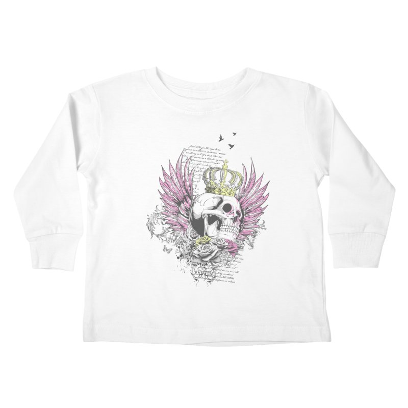Skull Queen with pink wings Kids Toddler Longsleeve T-Shirt by xristastavrou