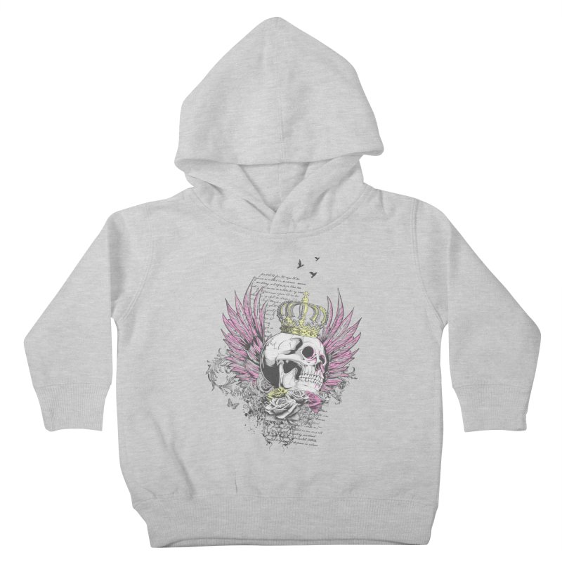Skull Queen with pink wings Kids Toddler Pullover Hoody by xristastavrou