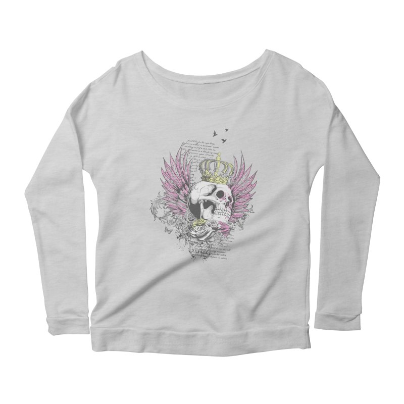 Skull Queen with pink wings Women's Scoop Neck Longsleeve T-Shirt by xristastavrou
