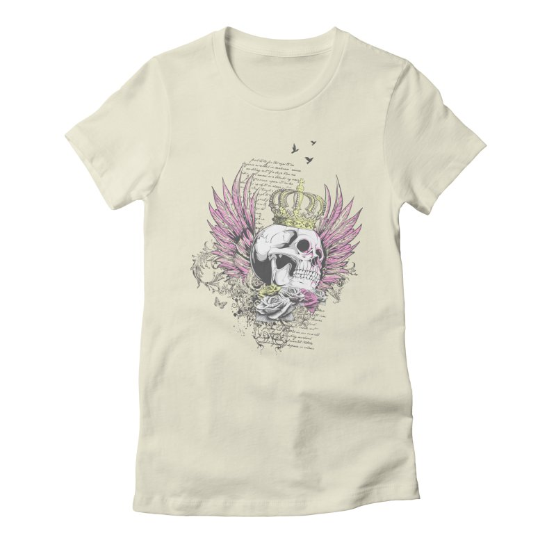 Skull Queen with pink wings Women's Fitted T-Shirt by xristastavrou