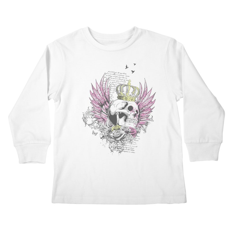 Skull Queen with pink wings Kids Longsleeve T-Shirt by xristastavrou