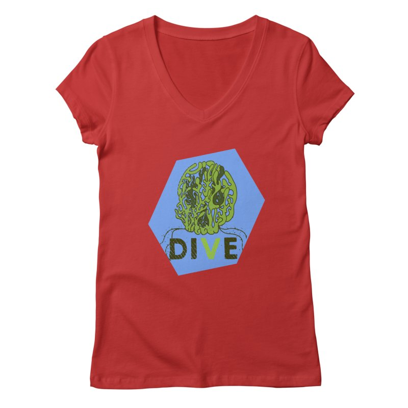 Dive or Die Women's Regular V-Neck by Thirty Silver