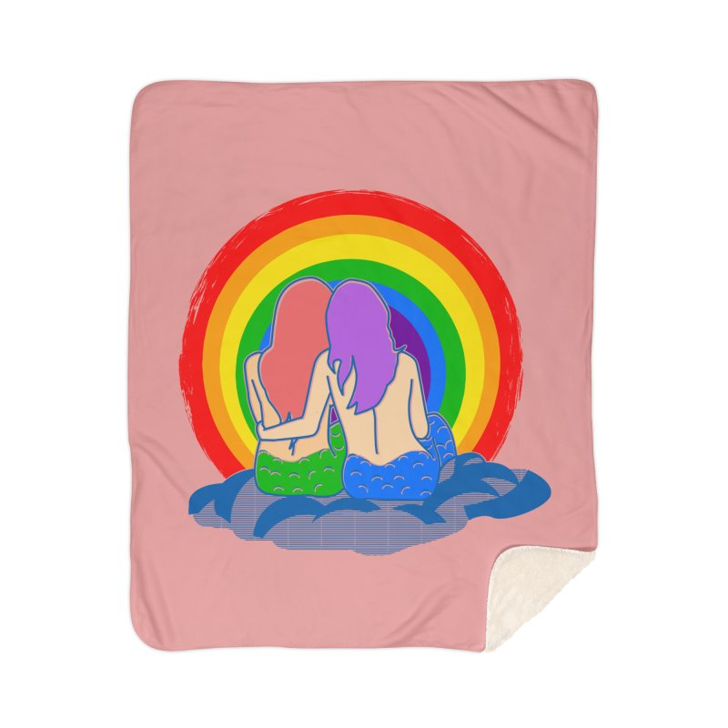 Mermaid for each other Home Sherpa Blanket Blanket by Thirty Silver