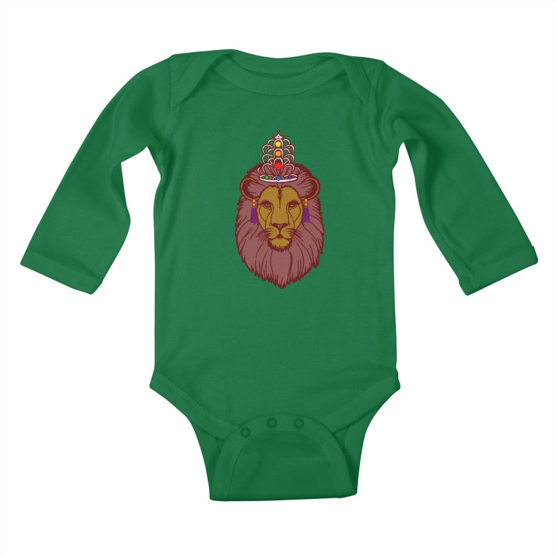 Queen of the pride Kids Baby Longsleeve Bodysuit by Thirty Silver