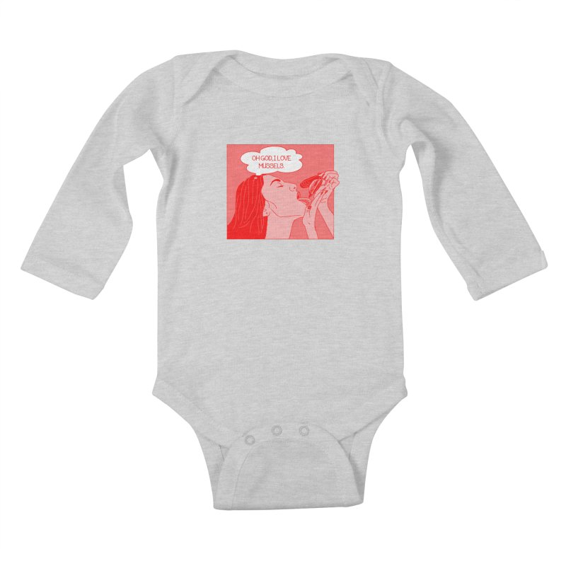 OMG Mussels Kids Baby Longsleeve Bodysuit by Thirty Silver