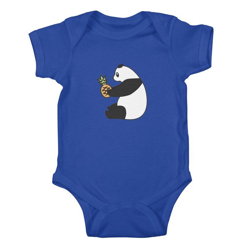 Bear Fruit - Pineapple Panda Kids Baby Bodysuit by XXXIII Apparel