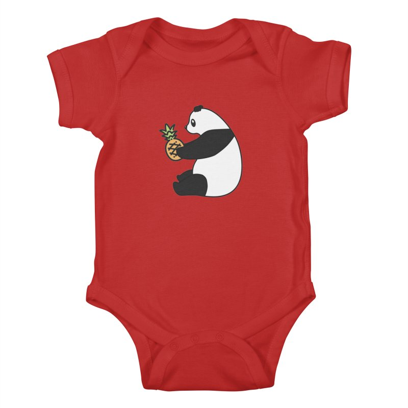 Bear Fruit - Pineapple Panda Kids Baby Bodysuit by XXXIII Apparel