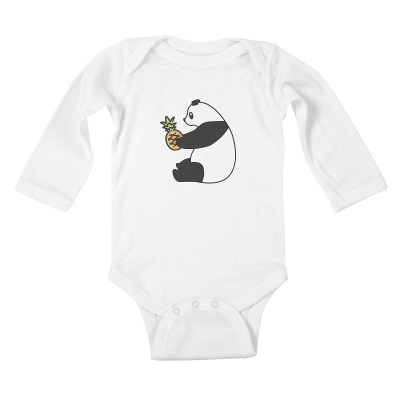 Bear Fruit - Pineapple Panda Kids Baby Longsleeve Bodysuit by XXXIII Apparel
