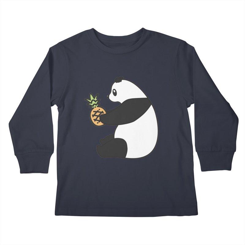 Bear Fruit - Pineapple Panda Kids Longsleeve T-Shirt by XXXIII Apparel