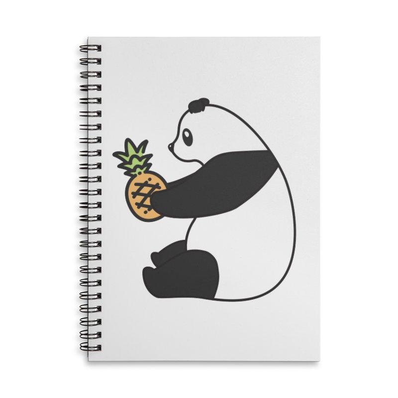 Bear Fruit - Pineapple Panda Accessories Lined Spiral Notebook by XXXIII Apparel