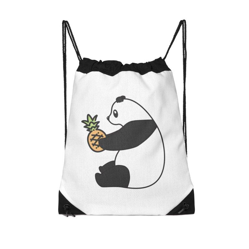 Bear Fruit - Pineapple Panda Accessories Drawstring Bag Bag by XXXIII Apparel