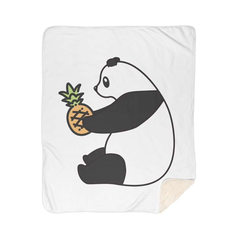 Bear Fruit - Pineapple Panda Home Sherpa Blanket Blanket by XXXIII Apparel