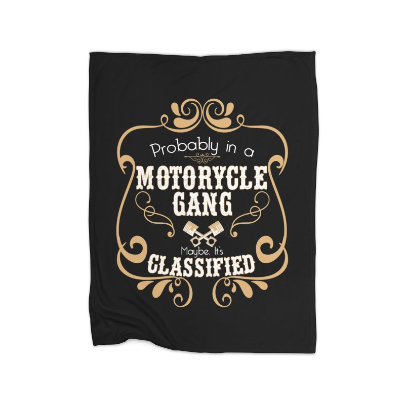 Motorcycle Gang Home Fleece Blanket Blanket by XXXIII Apparel