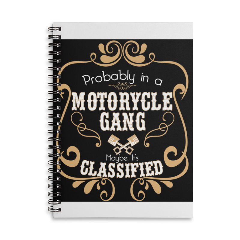 Motorcycle Gang - Dark Accessories Lined Spiral Notebook by XXXIII Apparel