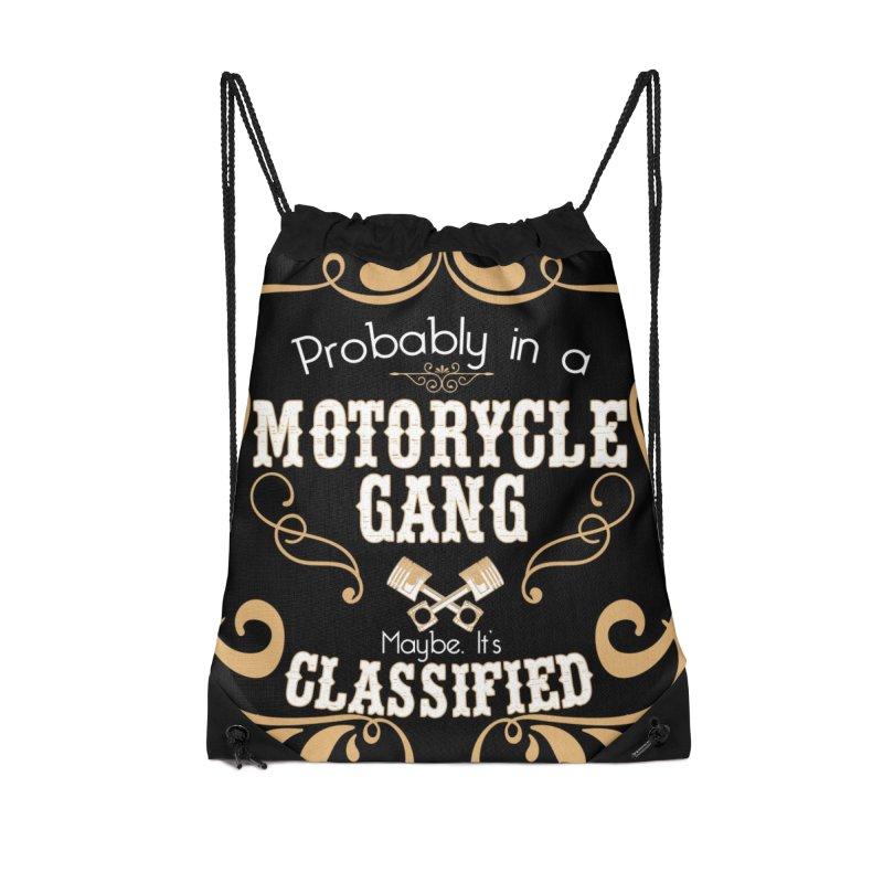 Motorcycle Gang - Dark Accessories Drawstring Bag Bag by XXXIII Apparel