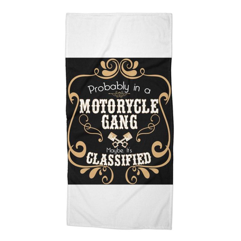 Motorcycle Gang - Dark Accessories Beach Towel by XXXIII Apparel