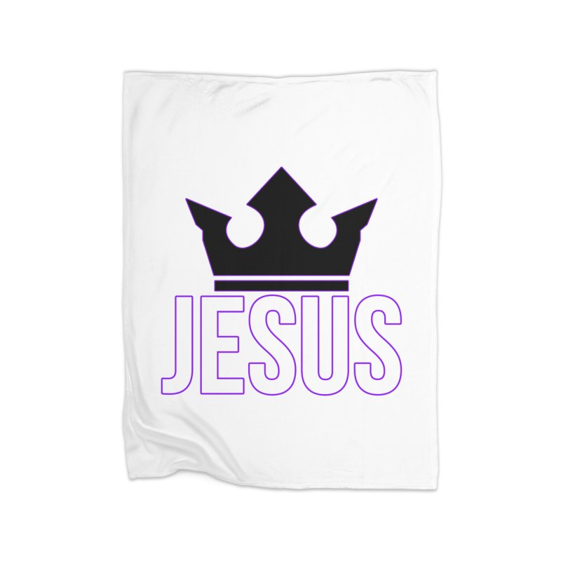 King Jesus Home Fleece Blanket Blanket by XXXIII Apparel
