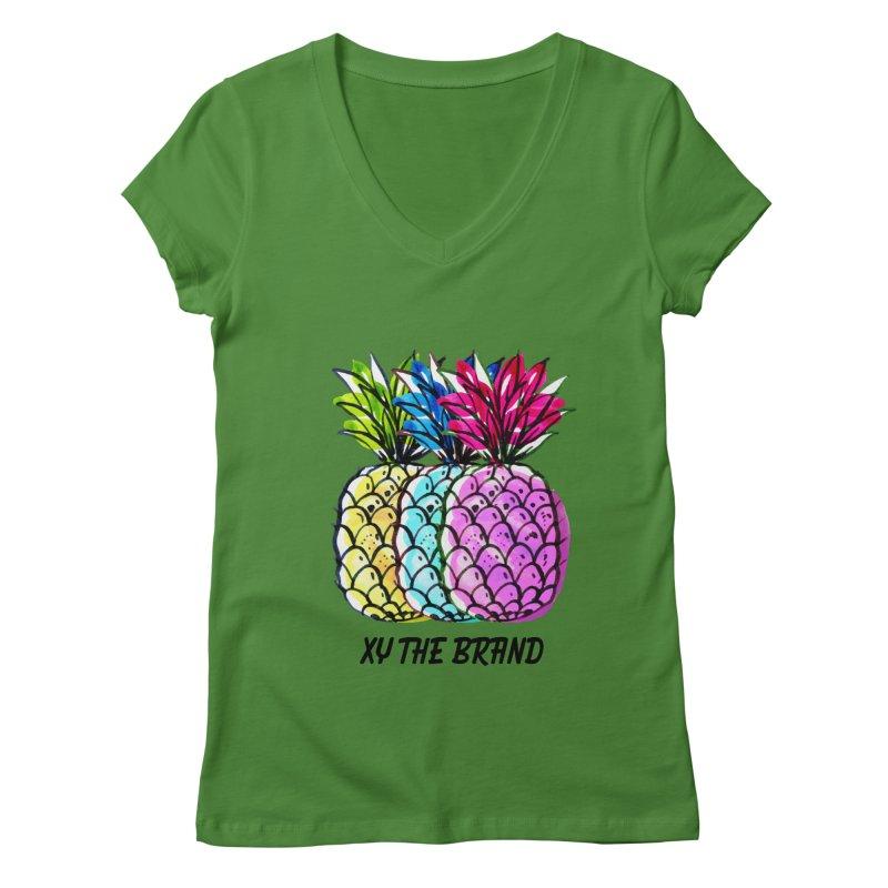 Pineapples Women's Regular V-Neck by XY The Brand
