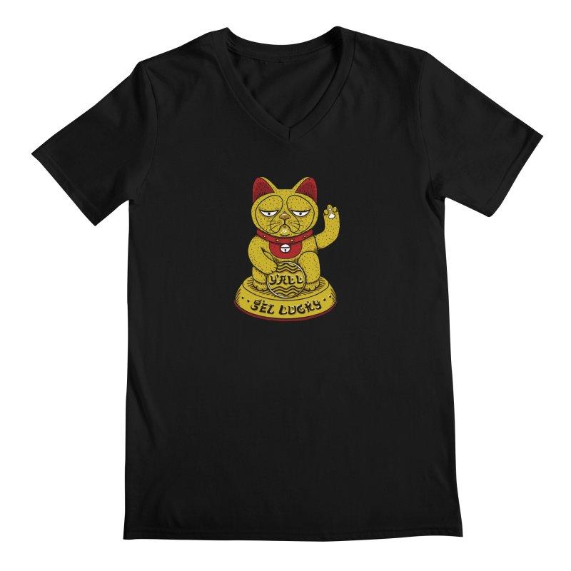 Lucky Cat Men's Regular V-Neck by YaaH